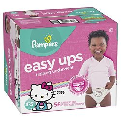 Pampers Easy Ups Training Girls Underwear, Size 6 4T-5T, 56 Count