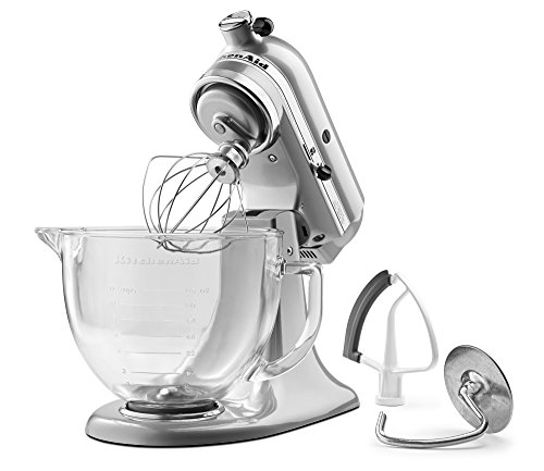 KitchenAid 5-Qt. Tilt-Head Stand Mixer with Glass Bowl and Flex Edge Beater - Metallic Chrome