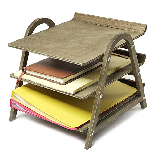 3 Tier Vintage Gray Wood Desktop Office Document Tray Holder, File Folder Rack