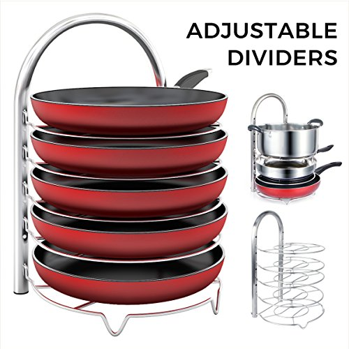 Lifewit Adjustable Pan Pot Organizer Rack for 8 9 10 11 12 inch Cookware, 5-Tier Cookware Holder