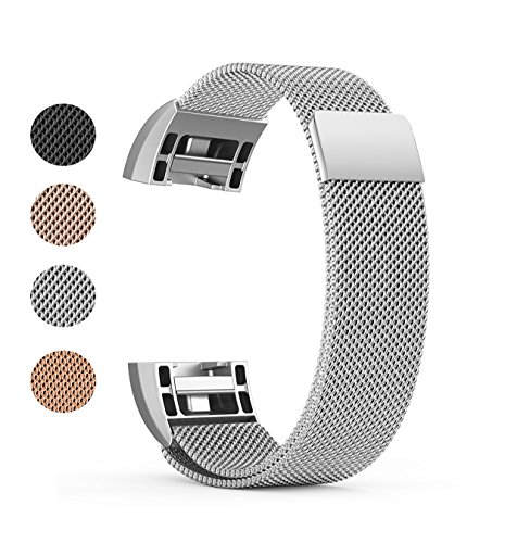 BeneStellar Stainless Steel Milanese Metal Small & Large Band for Fitbit Charge 2