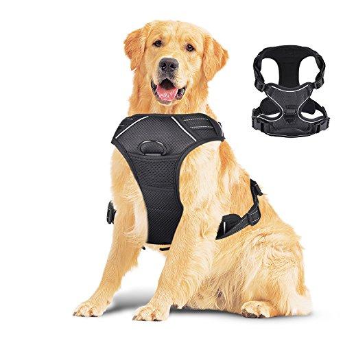 Creaker Large Dog Harness, Front Range No Pull Adjustable Pet Reflective Oxford Material Soft Vest Harness for Large Dogs