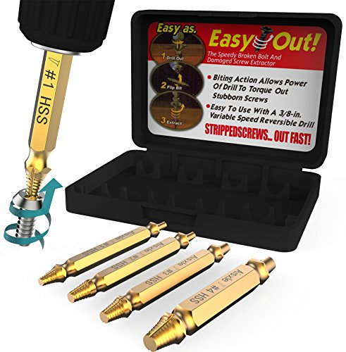 Damaged Screw Extractor Set by Aisxle, Easily Remove Stripped Gold Oxide Edition