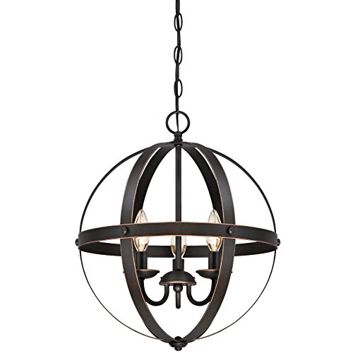 Stella Mira Three-Light Pendant, Oil Rubbed Bronze Finish with Highlights