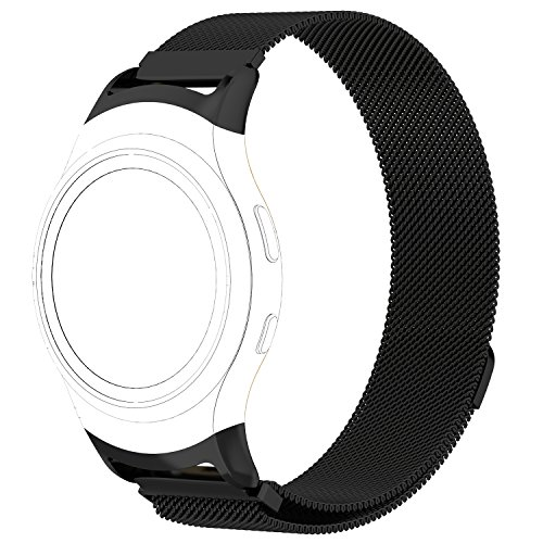 AWINNER Samsung Gear S2 Bands, Stainless Steel Milanese Loop Metal Replacement Accessories Bracelet Strap with Unique Magnet Lock for Gear S2 Smart Watch SM-R720 R730 Band (Black, Small)