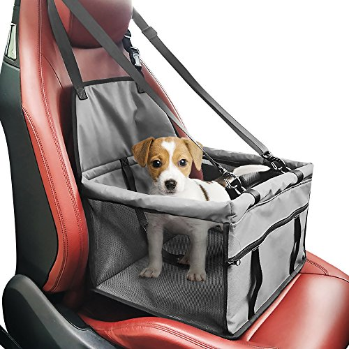Pet Car Booster Seat Carrier,Portable Foldable Pet Car Seat Cover Carrier with Seat Belt for Dog Cat Puppy Kitty up to 25lbs (Grey)