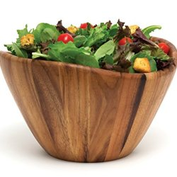 """Lipper International Acacia Wave Serving Bowl for Fruits or Salads, Large, 12"""" Diameter x 7"""" Height, Single Bowl"""