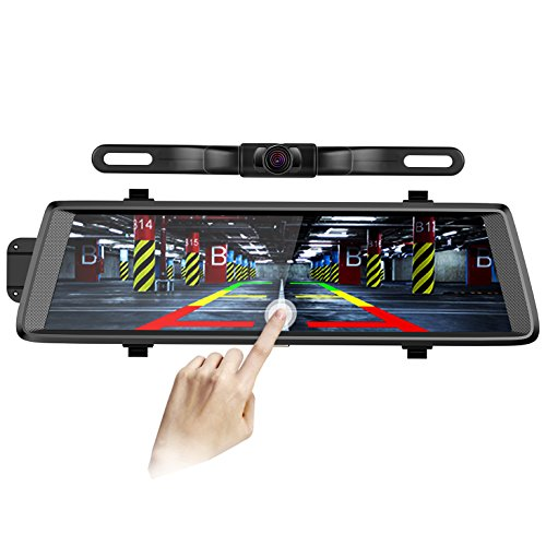 Pruveeo D700-Plus 10-Inch Touch Screen Backup Camera Dash Cam Front