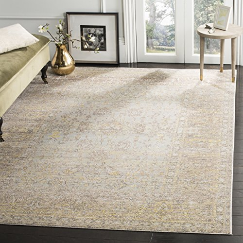 Safavieh Valencia Collection Grey and Multi Vintage Distressed Silky Polyester Area Rug (6' x 9')