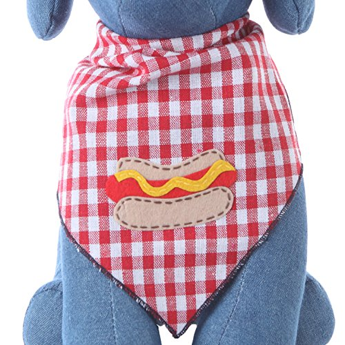 Dog Bandana with Hot Dog Applique (Medium)
