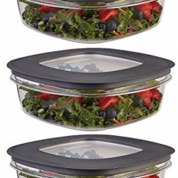 Rubbermaid Premier Food Storage Container, Grey, 9 Cup, 3-Pack