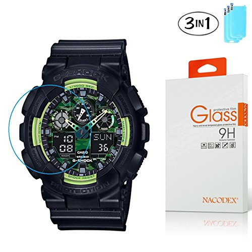 [3-Pack] Nacodex For CASIO G-SHOCK HD Clear Tempered Glass Screen Protector with Lifetime Replacement Warranty