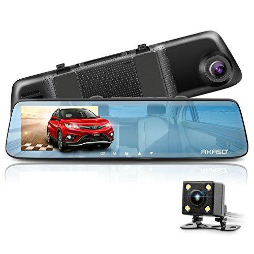 AKASO Mirror Dash Cam 1080P 5 Inch Touch Screen Dash Camera Front and Rear Dashcam