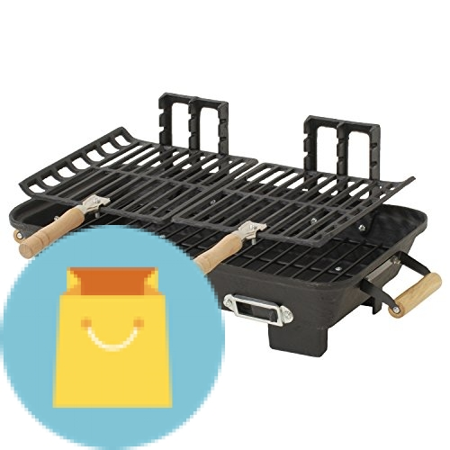Marsh Allen Kay Home Product's Cast Iron Hibachi Charcoal Grill, 10 by 18-Inch