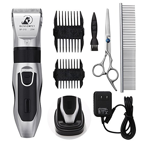 Dog Grooming Clippers - Cordless Quiet Pet Hair Clippers Trimmer Rechargeable with Stainless Steel Blades Dog Comb Shears Best Professional Hair Clipper Set for Dogs Cats Pets Long Short Hair ¡