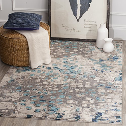 Safavieh Monaco Collection Modern Abstract Grey and Light Blue Area Rug (8' x 11')