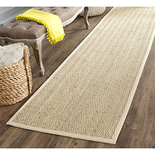 """Safavieh Natural Fiber Collection Herringbone Natural and Beige Seagrass Runner (2'6"""" x 6')"""