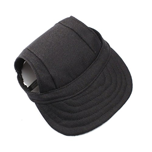 WINOMO Pet Dog Sports Hat Pet Dog Oxford Fabric Hat Sports Baseball Cap with Ear Holes for Small Dogs - Size M (Black)