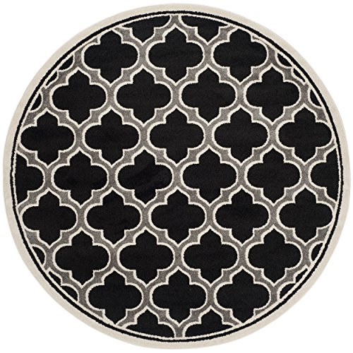 Safavieh Amherst Collection Anthracite and Ivory Indoor/ Outdoor Round Area Rug (7' Diameter)