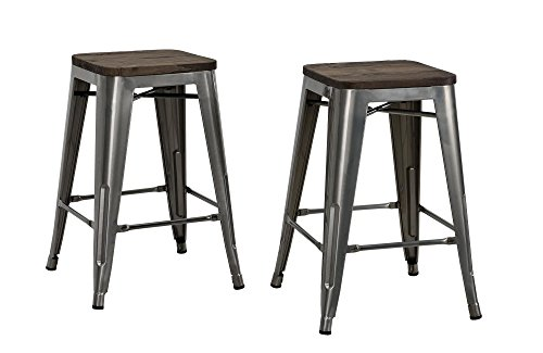 """DHP Fusion Metal Backless Counter Stool with Wood Seat, Set of two, 24"""", Gun Metal"""