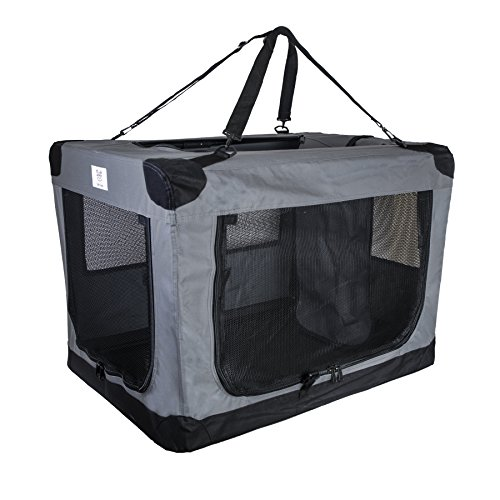 Arf Pets Dog Soft Crate 27 Inch Kennel for Pet Indoor Home & Outdoor Use - Soft Sided 3 Door Folding Travel Carrier with Straps