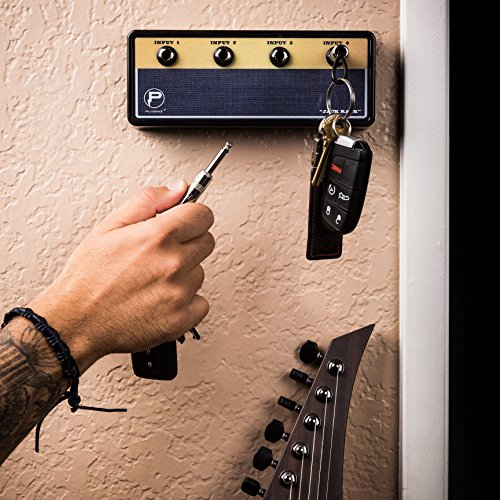 Jack Rack Guitar Amp Key Holder | Hang Your Keys Like A Rockstar | By Pluginz Key Chains (Legato & 4 Key Rings)