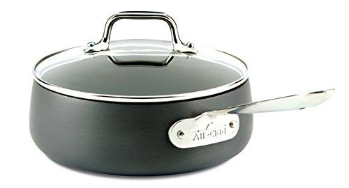 All-Clad HA1 Hard Anodized Nonstick Dishwasher Safe PFOA Free Sauce Pan Cookware, 2.5-Quart, Black