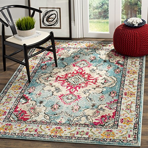 Safavieh Monaco Collection Vintage Bohemian Light Blue and Fuchsia Distressed Area Rug (8' x 10')
