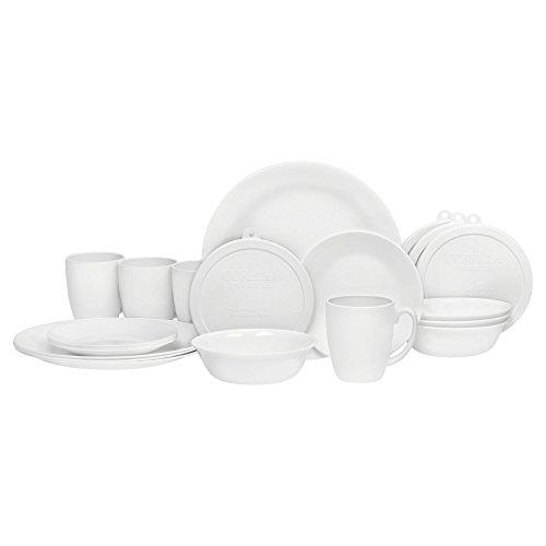 Corelle 20 Piece Livingware Dinnerware Set with Storage,Winter Frost White, Service for 4