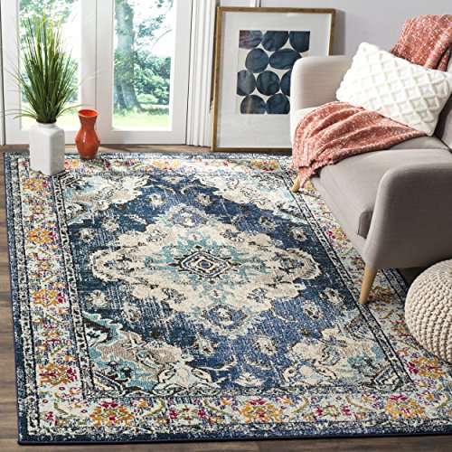 Safavieh Monaco Collection Vintage Bohemian Navy and Light Blue Distressed Area Rug (9' x 12')