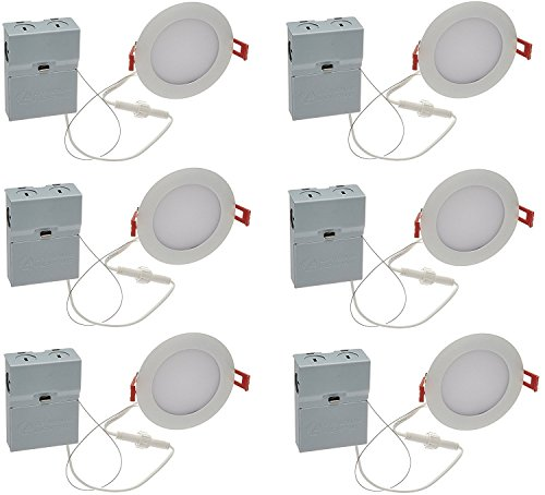"""Lithonia Lighting (Pack of 6) 9.6W Ultra Thin 4"""" Dimmable Recessed Ceiling Light"""