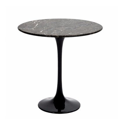 Saarinen Style Tulip Round Side Table - Black Marble