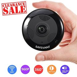 SAFEVANT Wireless Security Camera, HD Multifunctional Fisheye Panoramic  Camera 360 Degree Wifi IP Camera with Two Way Audio Night Vision and 3D View