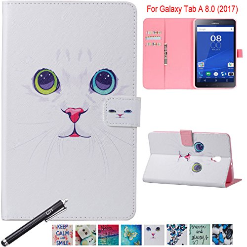Galaxy Tab A 8.0 2017 Case, Newshine Slim Standing Cover Auto Sleep/Wake Folio Case for 8.0 inch Samsung Galaxy Tab A (2017 Release, T380/ T385), NOT FIT 2015 Tab A 8.0 - White Cat