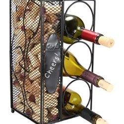 "Home-X Keepsake Wine Cork Holder ""Chalkboard "" Write A Note, Wine Corks Saver with 3 Wine Bottles Storage Rack."