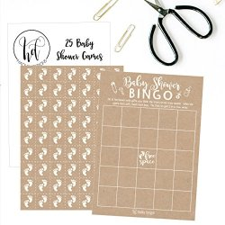 HomeHome Garden And Tools 25 Rustic Kraft Bingo Game Cards For Baby Shower Bulk Blank Squares PLUS Pack Of Feet Chips