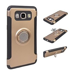 MEIRISHUN Slim Fit Layer Hybrid 2 in 1 Armor Rugged Defender with Ring Holder Kickstand Drop Protection Soft Rubber Bumper Case for Samsung Galaxy J5 (2016) - Golden