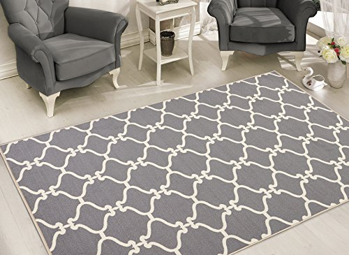 Sweet Home Stores Clifton Collection Moroccan Trellis Design Felt Area Rug, Light Grey
