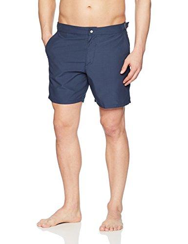 Lacoste Men's Heavier Nylon Peach Mid Length, Navy Blue, M