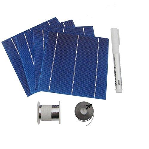 40pcs High Power 6x6 Solar Cells Kit 4.3W/Pcs w/ Tab Wire Flux for DIY Panel
