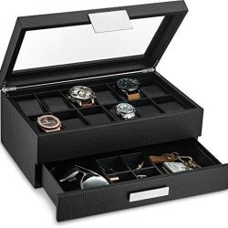 Glenor Co Watch Box with Valet Drawer for Men - 12 Slot Luxury Watch Case Display Organizer