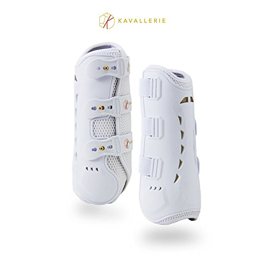 Kavallerie PRO-K 3D Air-Mesh Dressage Boots - Breathable, Lightweight, Impact Absorbing, Sports Boots for Training, Jumping, Riding, Eventing - Maximum Support and Protection - L-White