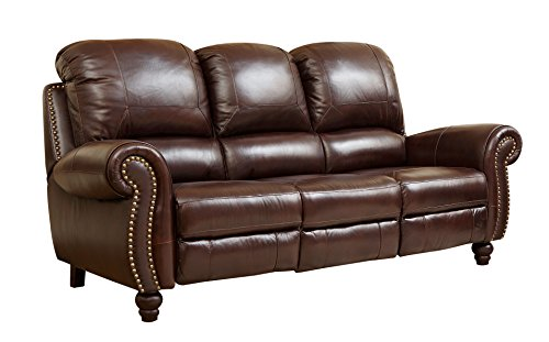 Abbyson Durham Leather Pushback Reclining Sofa