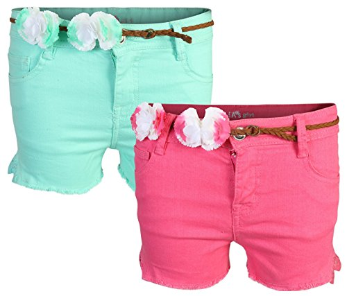dELiA*s 'dELiAs Girl's Denim Twill Shorts (2 Pack), Mint & Pink, Size 10'