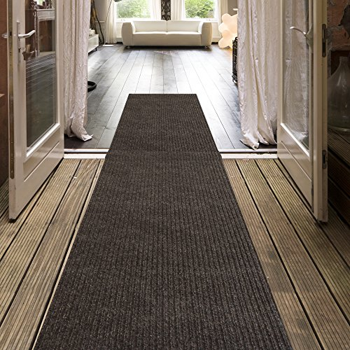 iCustomRug Indoor/Outdoor Utility Ribbed Carpet Runner And Area Rugs In Brown, Many Sizes Available