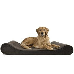 Furhaven Pet Jumbo Microvelvet Luxe Lounger Orthopedic Pet Bed, Espresso, Jumbo