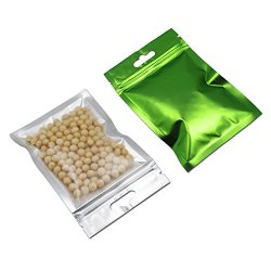 100 Pcs Clear Front Mylar Foil Heat Sealable Bags Bulk Food Storage Snack Sampling Pouch with Hang Hole Aluminum Foil Grip Seal Reclosable Pack Flat Ziplock Bags (8.5x13cm (3.3x5.1 inch), Green)