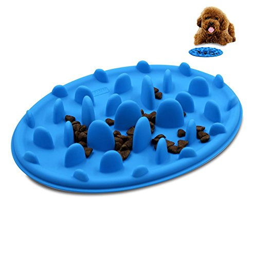 Spring fever Slow feed Fun Pizza Design Anti-choking Non-slip Silicone Interactive Bloat Stop Dog Pet Bowl Blue S(9.47.11.2inch)