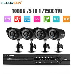 FLOUREON House Camera 4CH DVR Home Security System 1080N AHD DVR +utdoor 1500 4 X OTVL 720P Bullet Security Servalance Cameras Night Version (4CH+1500TVL)