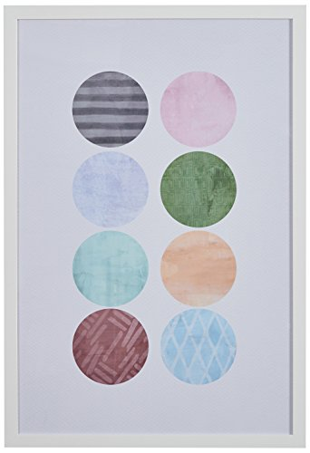 "Rivet Patterned Color Circles in White Frame, 18"" x 26"""